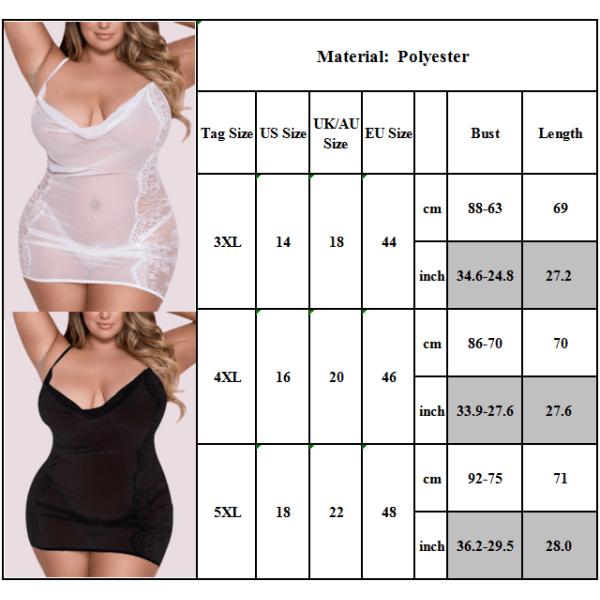 Plusstorlek sexig nattlinne för kvinnor, djup V-ringad klänning vit 3XL
