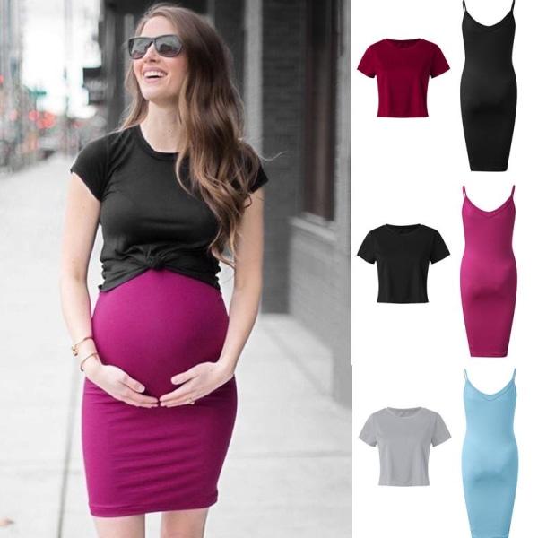 Pregnant Women 2pcs Dress Set Veatidos wine red 5XL