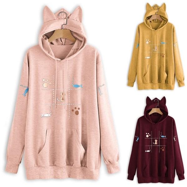 Tryckt kattörat med huva höst vinter mode fleece tröja