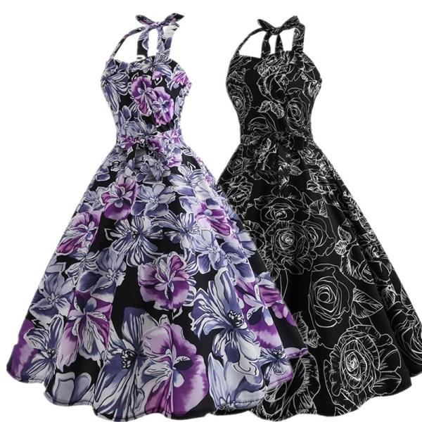 Retro blommig tryckt klänning Kvinnor knälängd