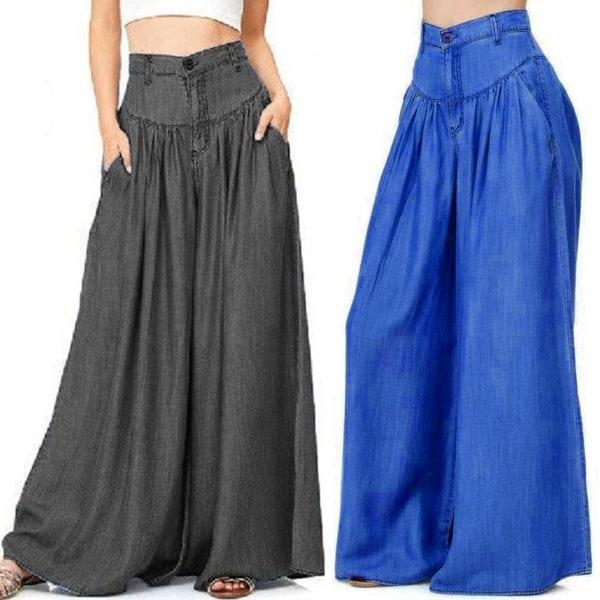 Byxor för kvinnor med vida ben, avslappnade byxor med hög midja blå 3XL