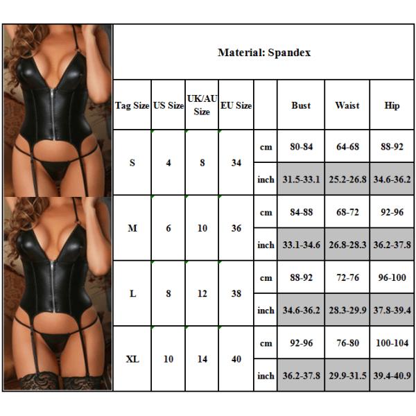 Sexig lackläder sexig underkläder - mini nattklänning - - Svart M