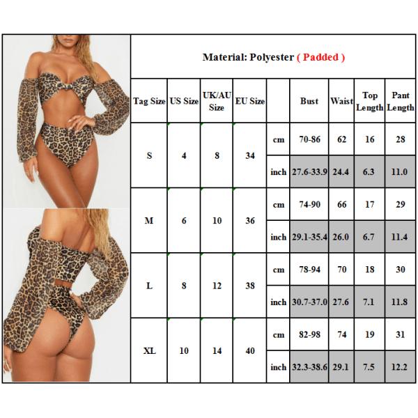 Sexiga bikiniuppsättningar för kvinnor Badkläder med leopardtryck