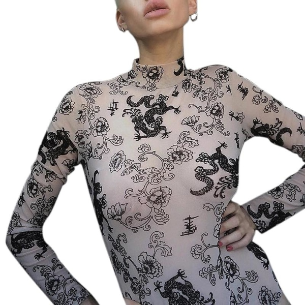 Sexy Perspective Bodysuits High Neck Women As pics S