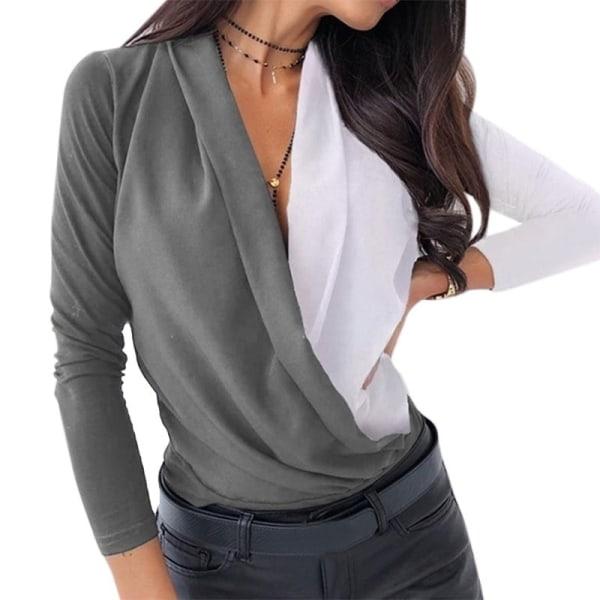 Sexiga långärmade djupa V-skjorta kvinnor