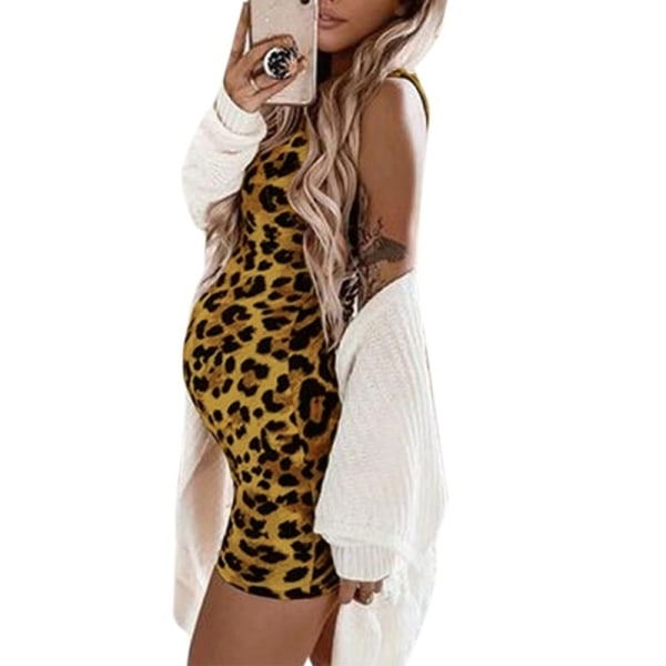 Sexy Women Dress Leopard Maternity Dresses purple M