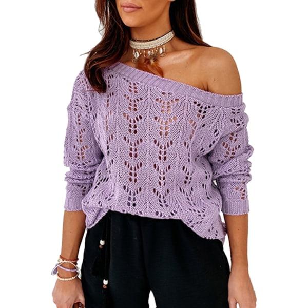 Sexiga kvinnor ihålig en axelstickad tröja Casual tröja