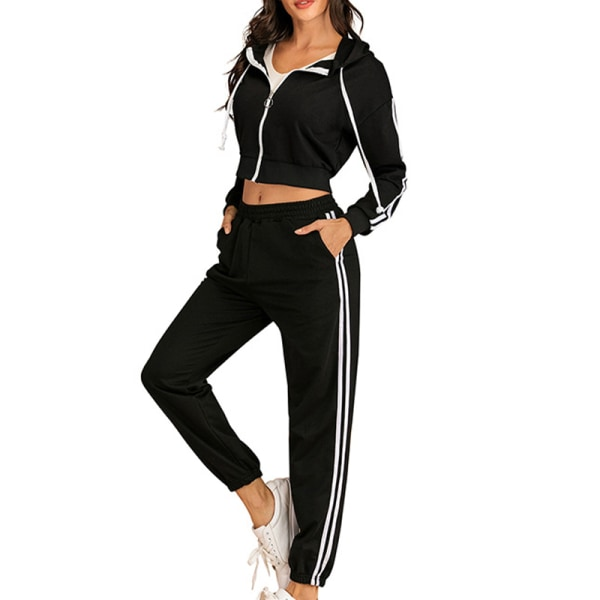 Women Casual Long-sleeved Hooded Solid Color Workout Clothing black S