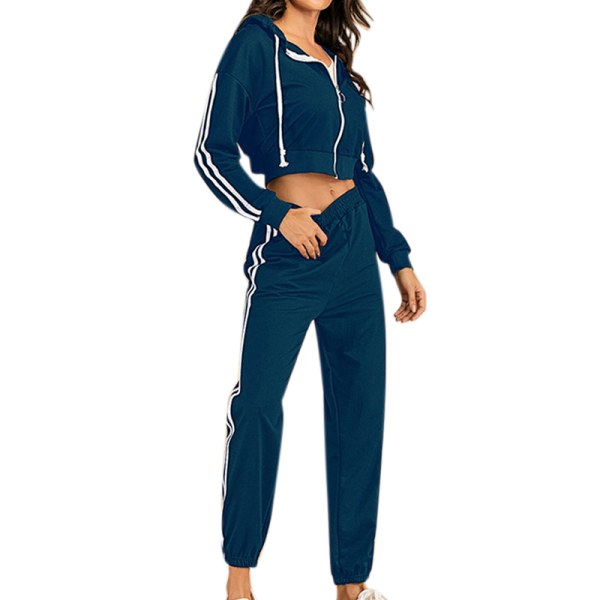 Women Casual Long-sleeved Hooded Solid Color Workout Clothing blue XL
