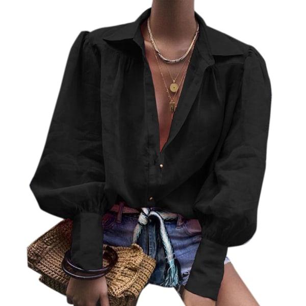 Enfärgad kavaj Cardigan Office Lady black M