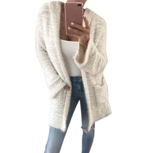 Enfärgad Midi-tröja Cardigan för kvinnor