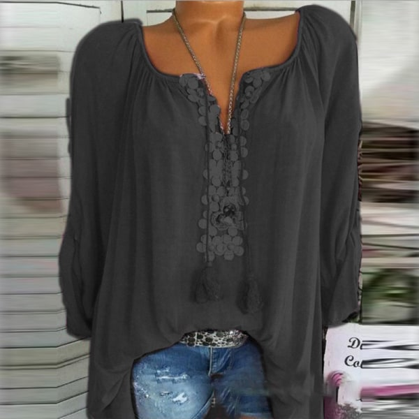 Solid Color Word Collar Lace Long Sleeves black L
