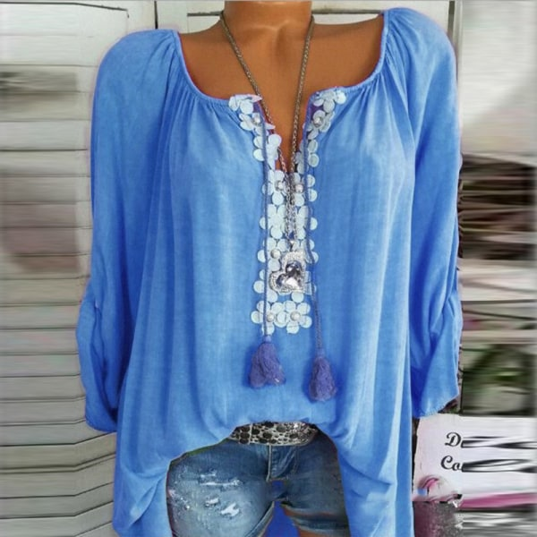 Solid Color Word Collar Lace Long Sleeves blue 2XL