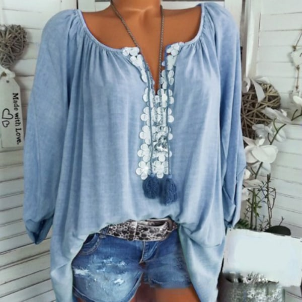 Solid Color Word Collar Lace Long Sleeves lake blue 3XL
