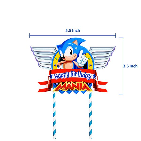 Sonic födelsedagsuppsättning, födelsedagsdekorationer, festtillbehör