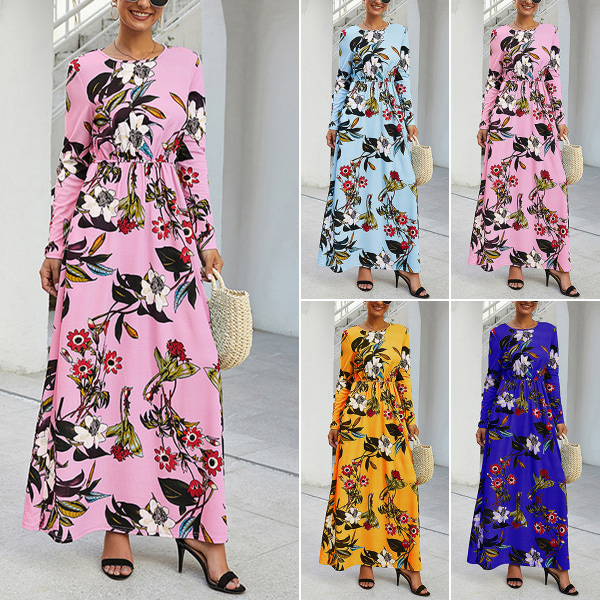 Spring Women Floral Pattern Bohemian Straight Dress Pink XL