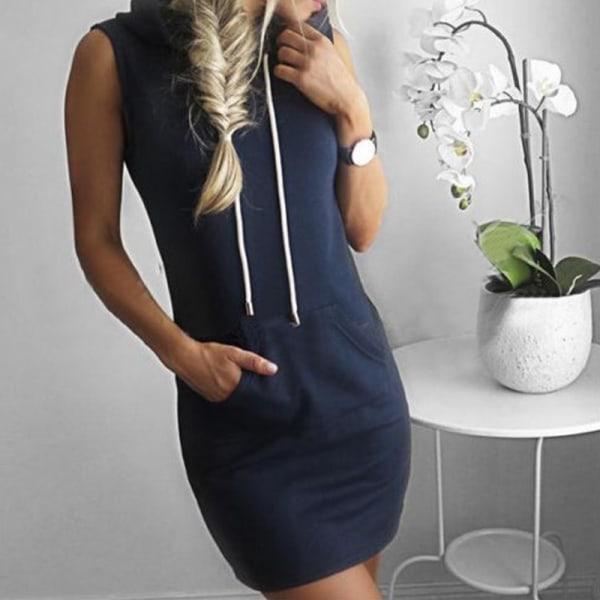 Summer hooded pocket sweater dress sweater dress striped hooded dark blue L