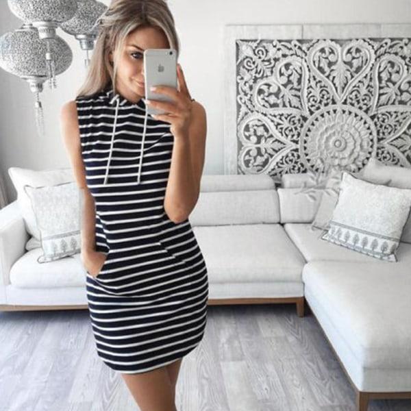 Summer hooded pocket sweater dress sweater dress striped hooded stripe L