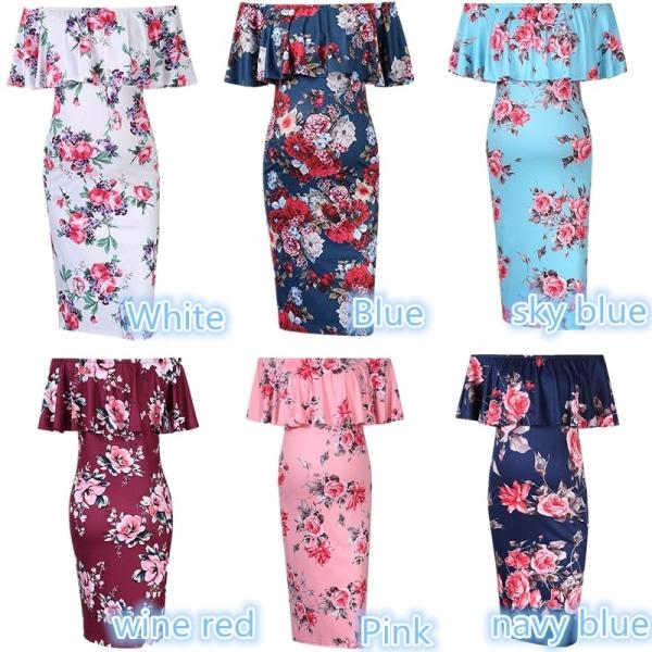 Summer Maternity Women Off Shoulder Ruffle Dress skyblue XL