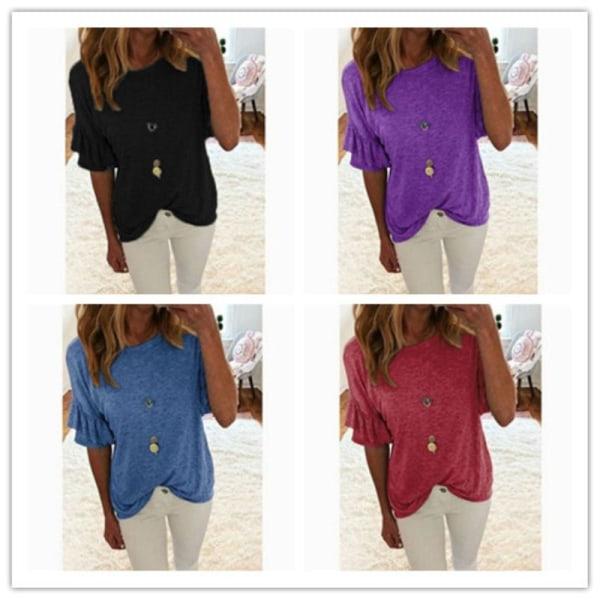 Summer Solid Flare Short Sleeve Plus black 5XL