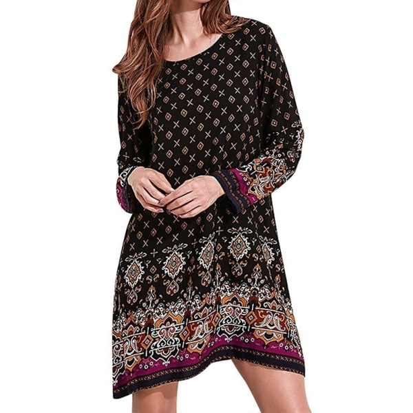 Sommarkvinnor Boho Floral Print Shirt Dress