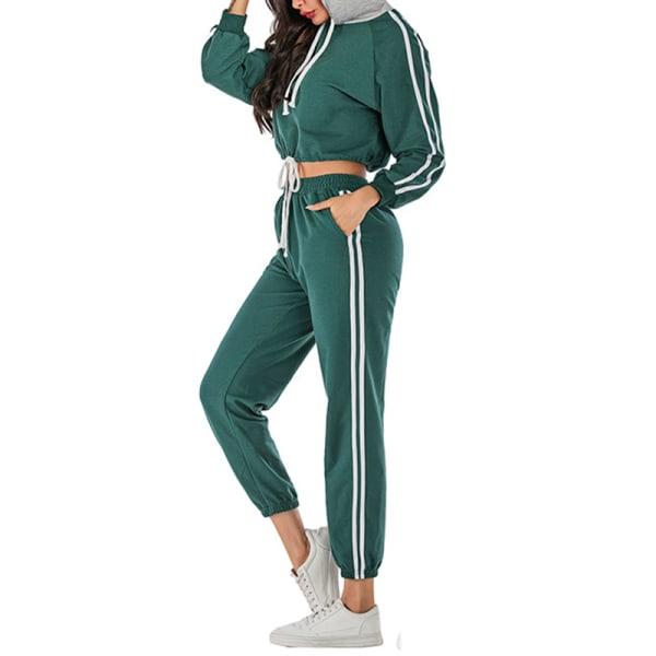 Tracksuit Sets Jogging Suit Women Sport Workout Clothing green S