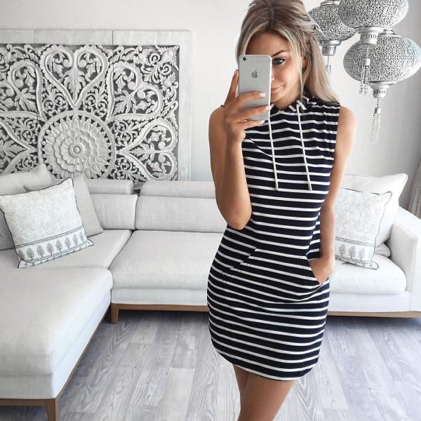 UK Womens Casual Sleeveless Hooded Dresses Summer Hoodie Black S