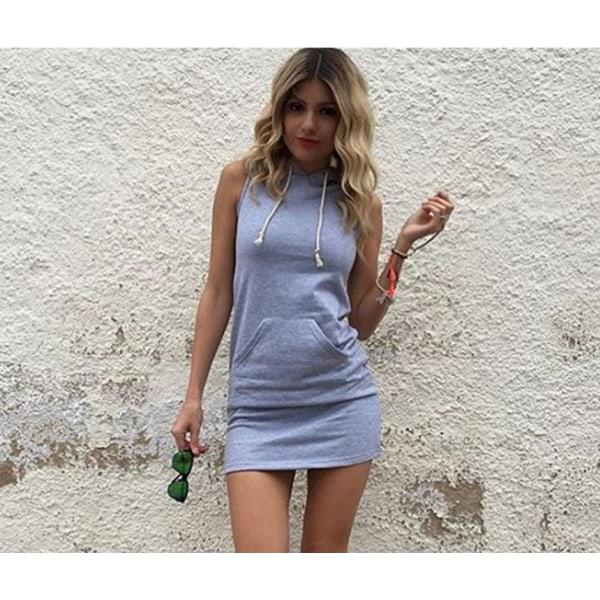 UK Womens Casual Sleeveless Hooded Dresses Summer Hoodie Grey XL