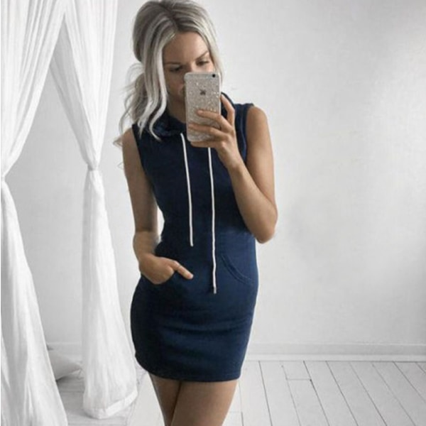 UK Womens Casual Sleeveless Hooded Dresses Summer Hoodie Navy Blue XL