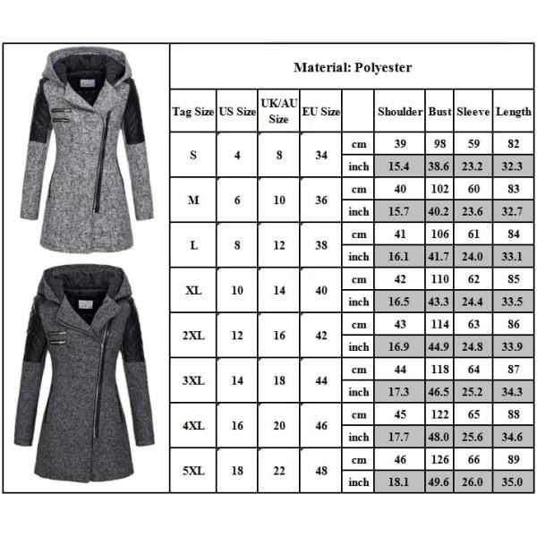 Vinter kvinnor plysch Diagonal dragkedja Coat Hooded löst lapptäcke