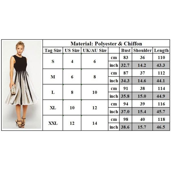 Kvinnas kontrast chiffongklänning avslappnad lång kjol med fickor contrast M