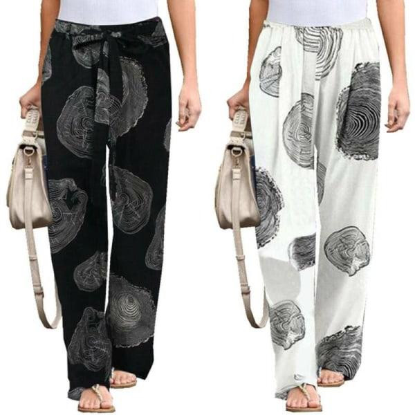 Women Boho Long Loose Yoga Pants Bottoms Casual Full Length White 2XL