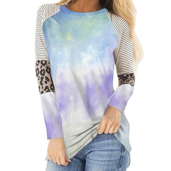 Kvinnor Casual Hot Sale Mode Leopard Print Tie-dye Långärmad sky blue 4XL