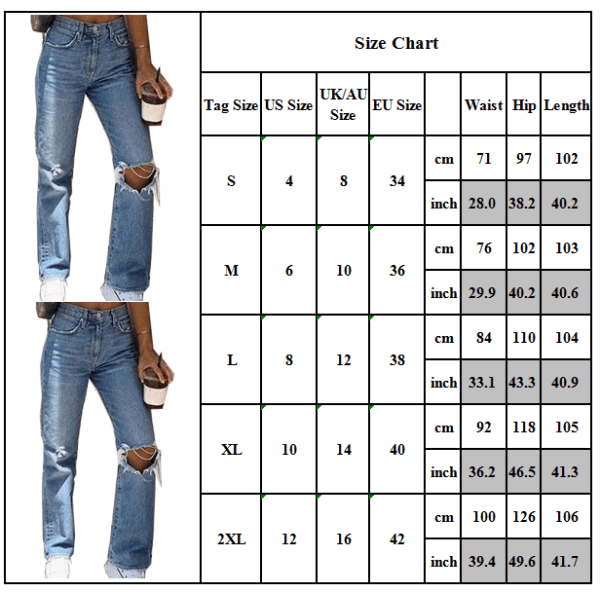 Women Casual Ripped Knee Hole Denim High Waist Distressed Jeans Blue S