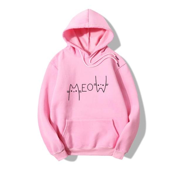 Women Cat Print Hoodies Hooded Sweater Casual Loose Long Sleeve Pink M