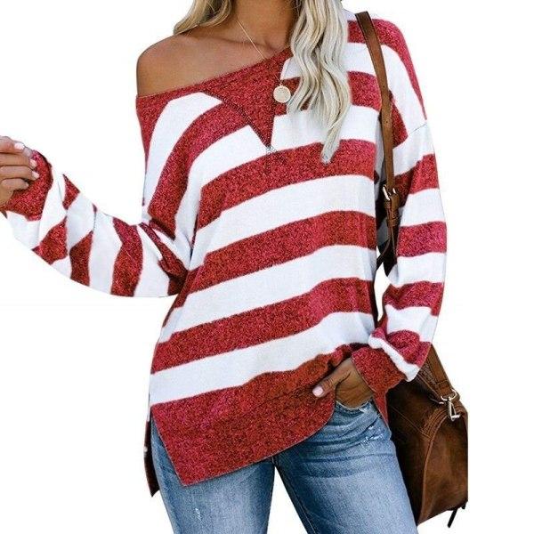 Kvinnors färg patchwork randiga toppar långärmad slits