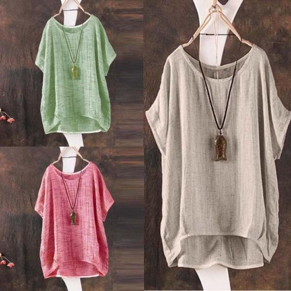 Women Cotton Blend Loose Shirt Batwing Shirt white L
