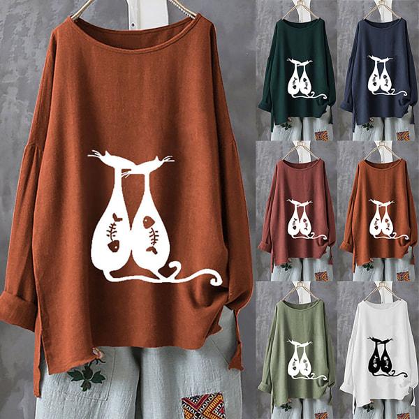 Kvinnor Bomull Syster T-shirt Street Wear Blouse Cutout