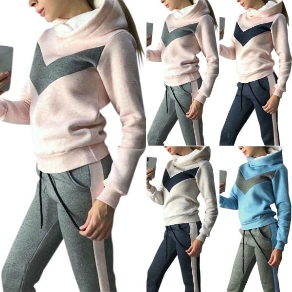 Women Cotton Thick Autmn Winter Hoodies Suit Light Grey Pink S