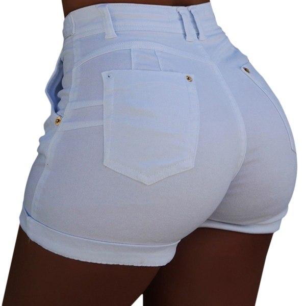 Women Denim Hot Pants Roll Up Slim Summer Casual High Waisted Navy M