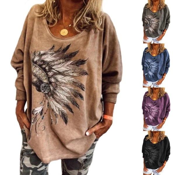 Women's trendy fashion long sleeve printed T-shirt khaki L