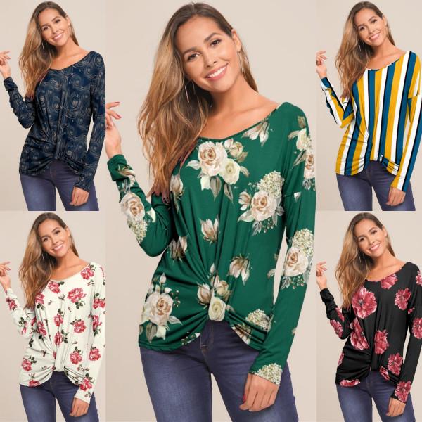 Kvinnamode Långärmad V-ringning Oregelbundna blommiga T-shirts