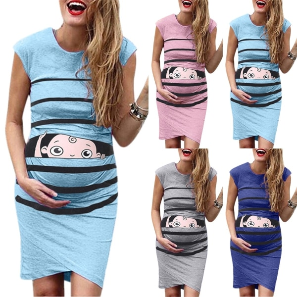 Women Fashion Summer Dress Cartoon Printed Lovely lightblue S