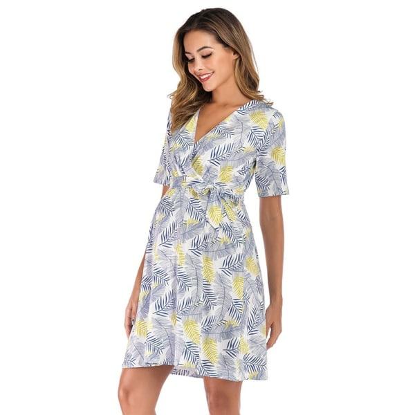 Women Fashion Summer Leaf Print Deep V lightgreen M