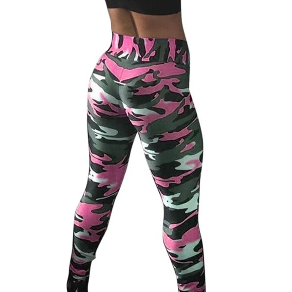 Kvinnors kamouflage höftlyftande yogabyxor, löparkondition rosa M