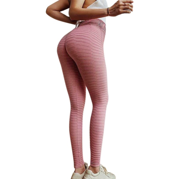 Kvinnors höftlyftande yogabyxor, yogabyxor, leggings rosa L