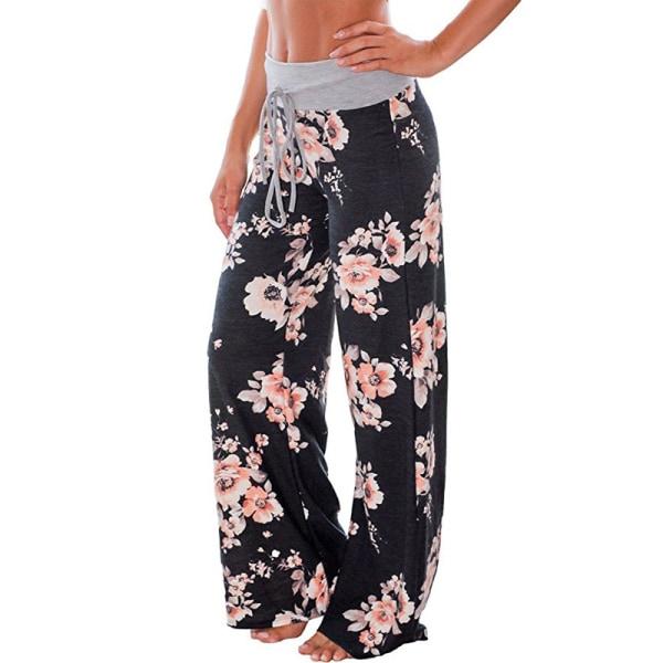 Loose yoga pants for women, floral casual beach pants svart L
