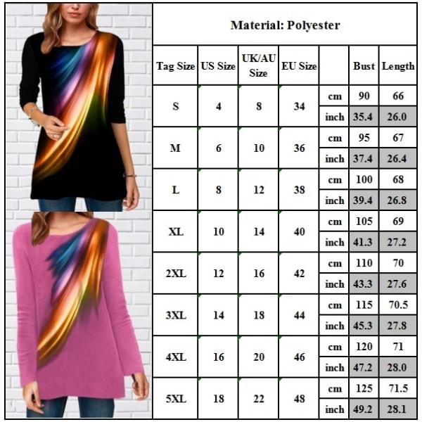 Kvinnors grafiska tryckta flerfärgade toppar rund hals mode