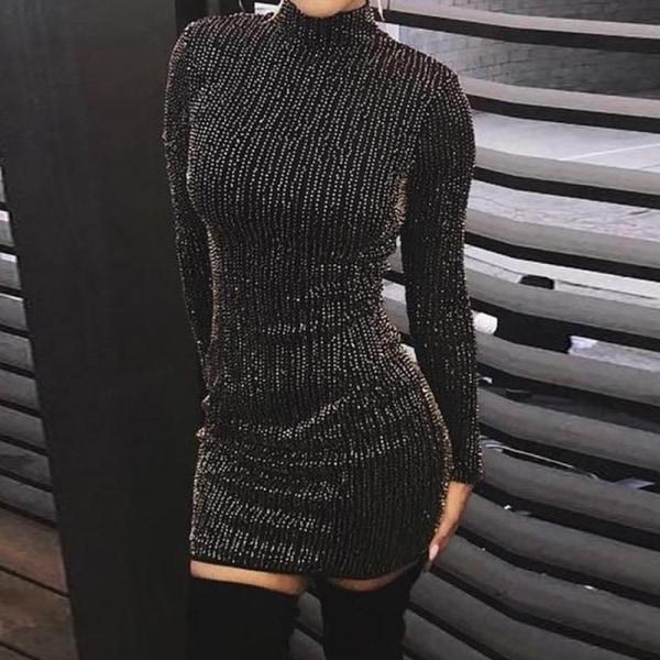 Mini-klänning med hög krage för kvinnor