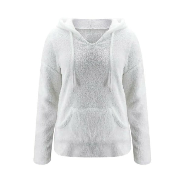 Women Hooded Pullover Tops Long Sleeve Blouse Autumn Winter Coat White S